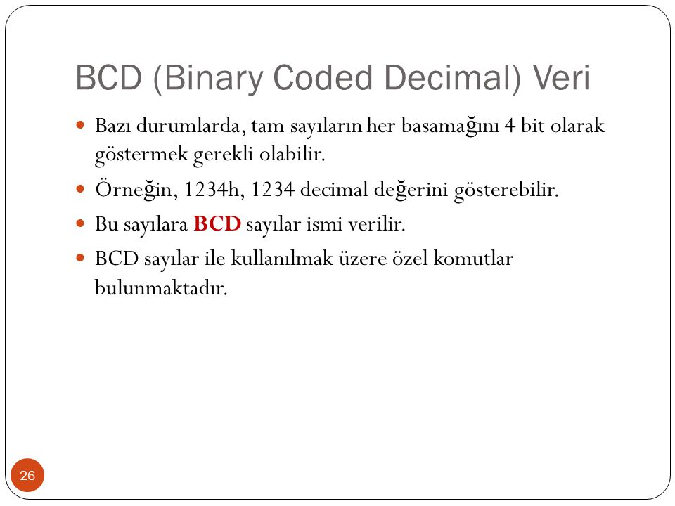 BCD (Binary Coded Decimal) Veri