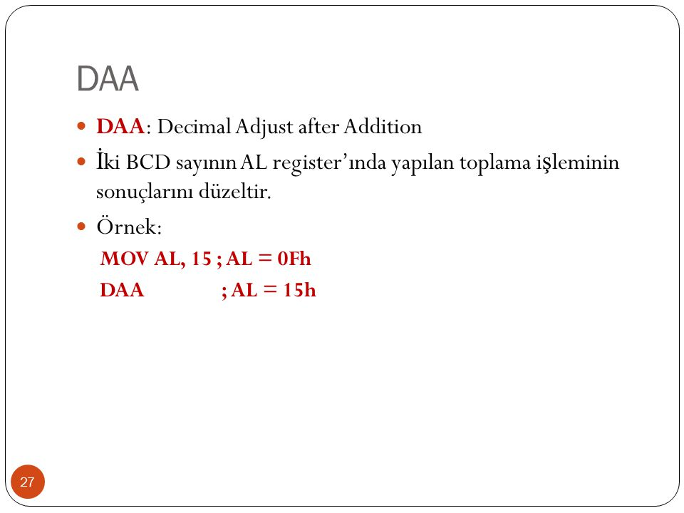 DAA DAA: Decimal Adjust after Addition