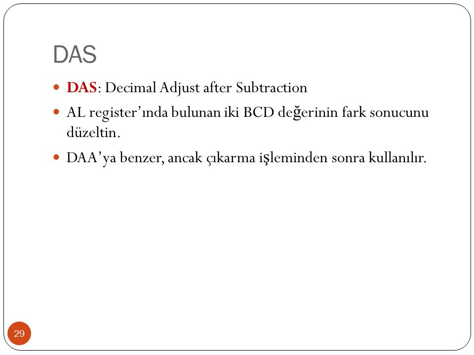 DAS DAS: Decimal Adjust after Subtraction