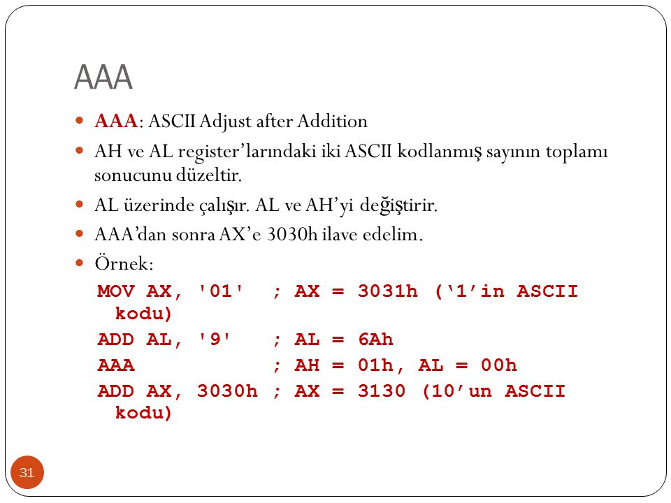 AAA AAA: ASCII Adjust after Addition