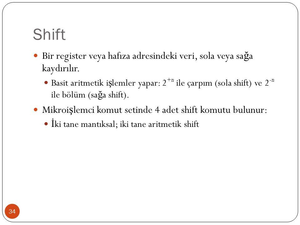 Shift Bir register veya hafıza adresindeki veri, sola veya sağa kaydırılır.