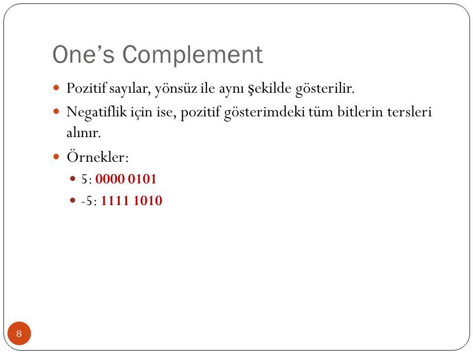 One's Complement Pozitif sayılar, yönsüz ile aynı şekilde gösterilir.
