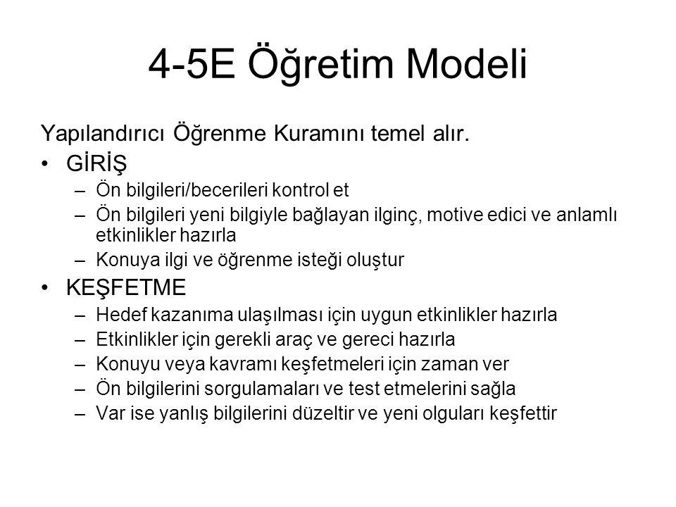 4-5E Öğretim Modeli Yapılandırıcı Öğrenme Kuramını temel alır. GİRİŞ