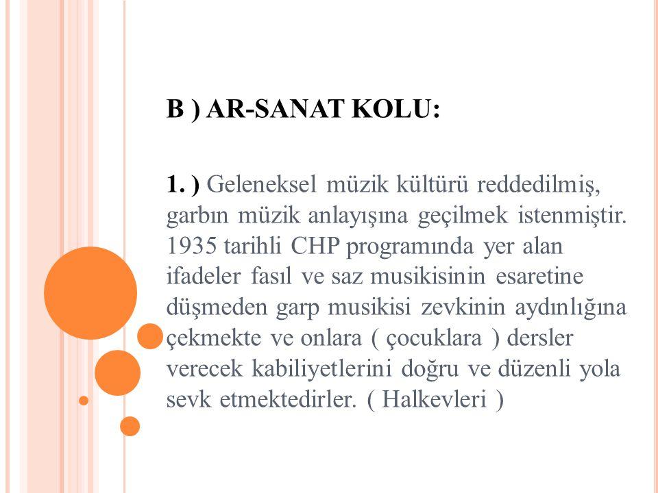 B ) AR-SANAT KOLU: