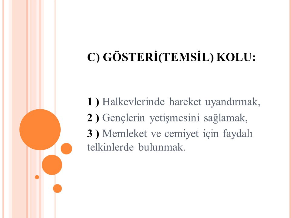 C) GÖSTERİ(TEMSİL) KOLU: