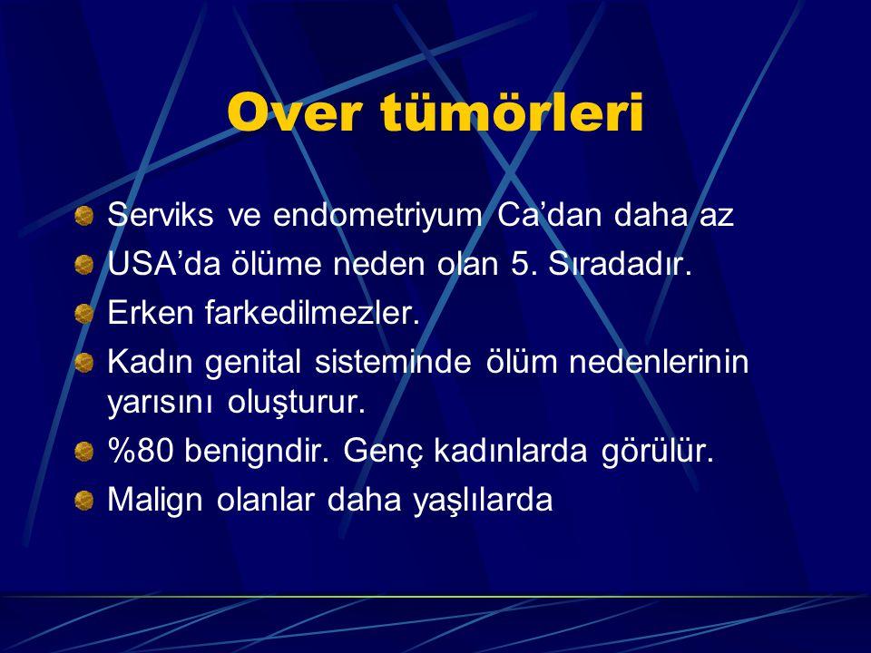 Over tümörleri Serviks ve endometriyum Ca'dan daha az