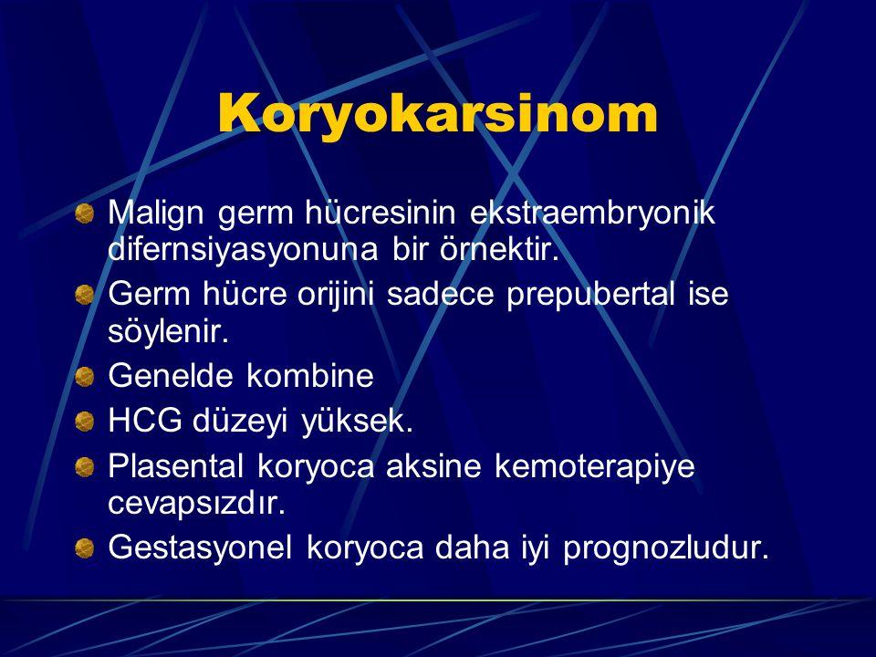 Koryokarsinom Malign germ hücresinin ekstraembryonik difernsiyasyonuna bir örnektir. Germ hücre orijini sadece prepubertal ise söylenir.