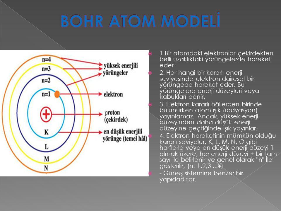 BOHR ATOM MODELİ 1.Bir atomdaki elektronlar çekirdekten belli uzaklıktaki yörüngelerde hareket eder.