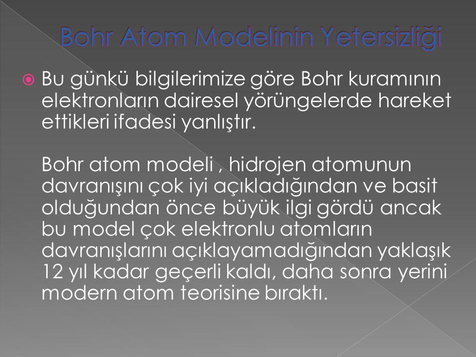 Bohr Atom Modelinin Yetersizliği
