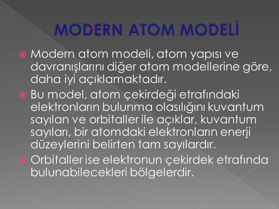 MODERN ATOM MODELİ Modern atom modeli, atom yapısı ve davranışlarını diğer atom modellerine göre, daha iyi açıklamaktadır.