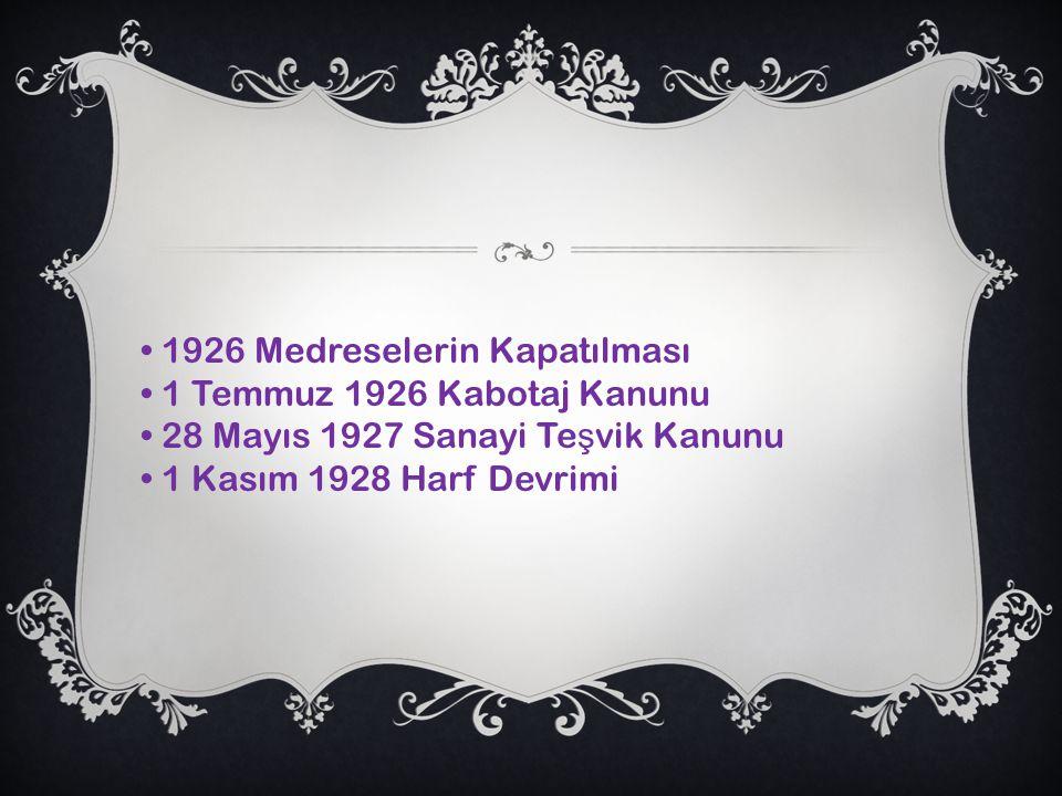 • 1926 Medreselerin Kapatılması