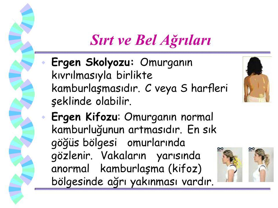 Sırt ve Bel Ağrıları Ergen Skolyozu: Omurganın kıvrılmasıyla birlikte kamburlaşmasıdır. C veya S harfleri şeklinde olabilir.