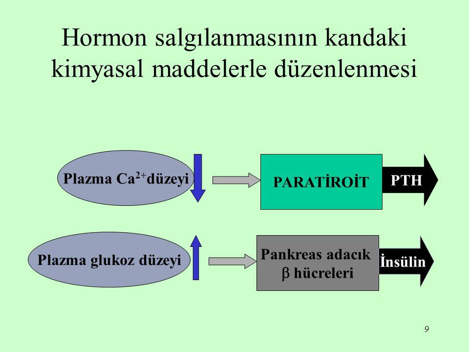 Hormon salgılanmasının kandaki kimyasal maddelerle düzenlenmesi