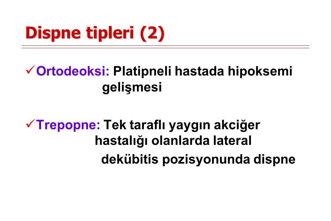 Dispne tipleri (2) Ortodeoksi: Platipneli hastada hipoksemi gelişmesi