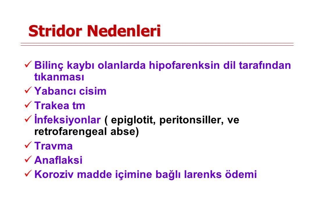 Stridor Nedenleri Bilinç kaybı olanlarda hipofarenksin dil tarafından tıkanması. Yabancı cisim. Trakea tm.