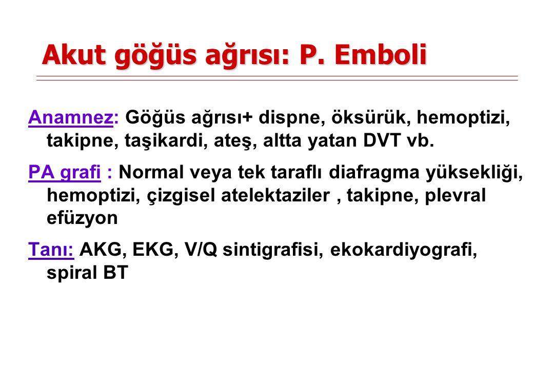 Akut göğüs ağrısı: P. Emboli