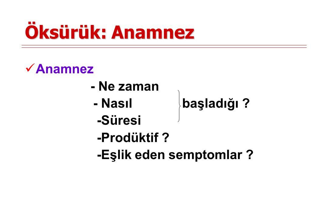 Öksürük: Anamnez Anamnez - Ne zaman - Nasıl başladığı -Süresi