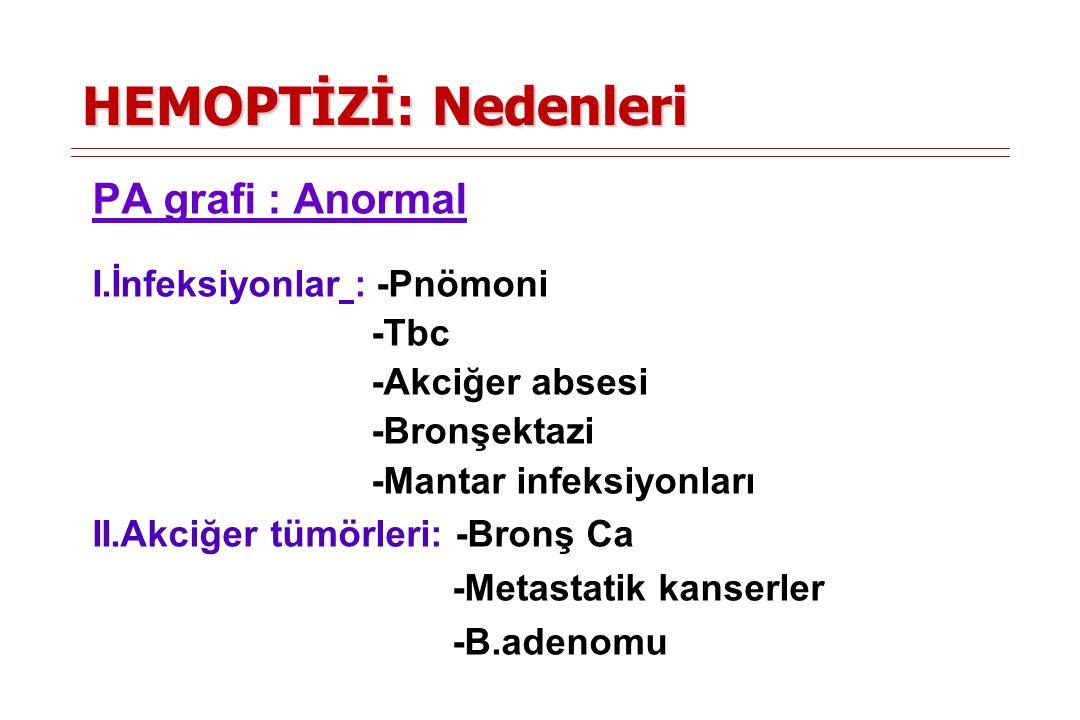 HEMOPTİZİ: Nedenleri PA grafi : Anormal I.İnfeksiyonlar : -Pnömoni