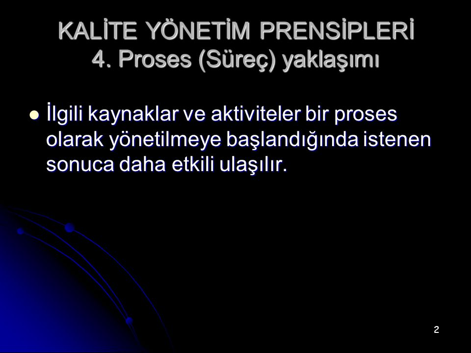KALİTE YÖNETİM PRENSİPLERİ 4. Proses (Süreç) yaklaşımı