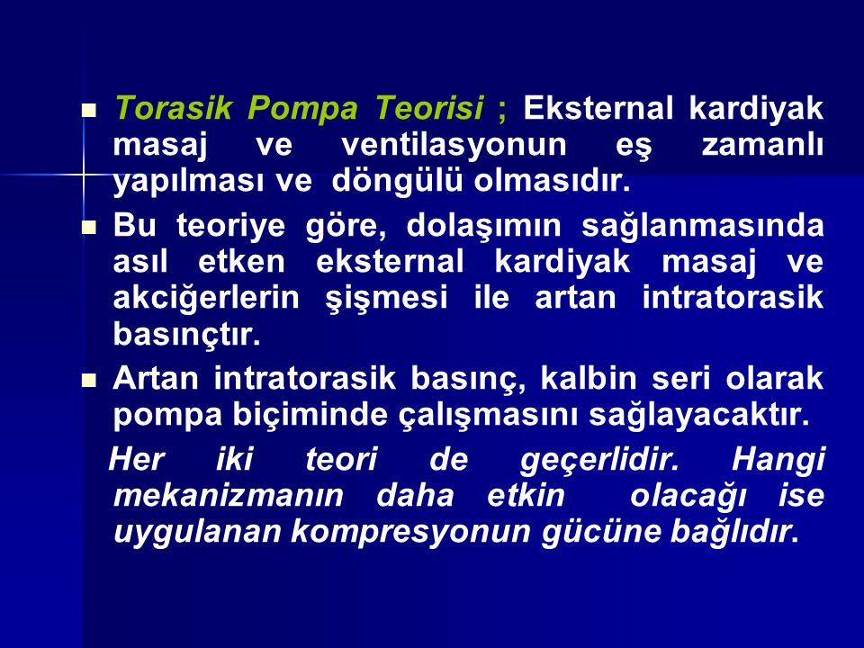 Torasik Pompa Teorisi ; Eksternal kardiyak masaj ve ventilasyonun eş zamanlı yapılması ve döngülü olmasıdır.
