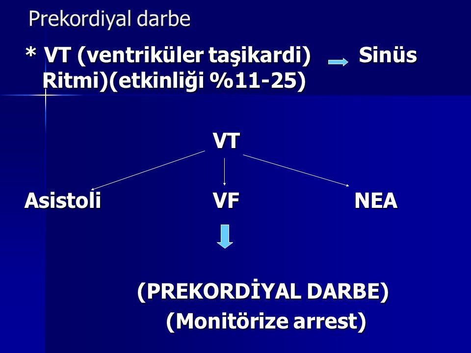 Prekordiyal darbe * VT (ventriküler taşikardi) Sinüs Ritmi)(etkinliği %11-25) VT. Asistoli VF NEA.