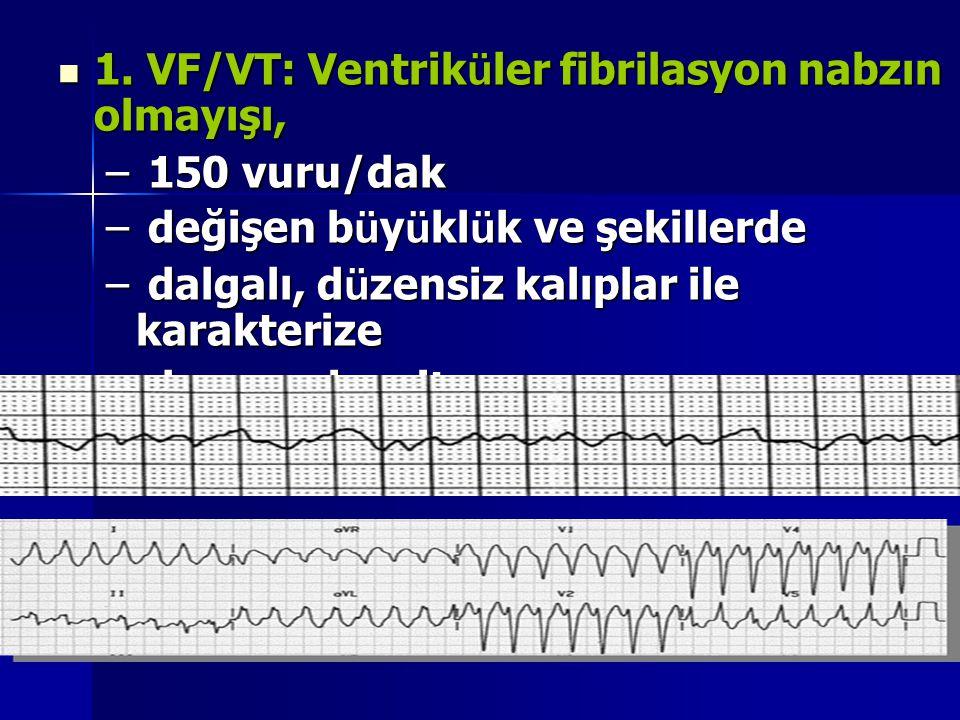 1. VF/VT: Ventriküler fibrilasyon nabzın olmayışı,