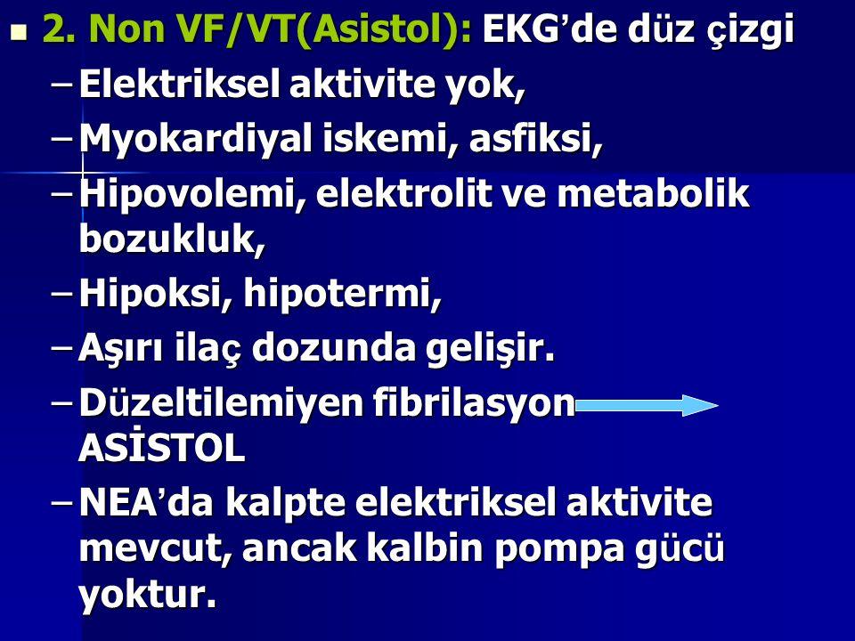 2. Non VF/VT(Asistol): EKG'de düz çizgi