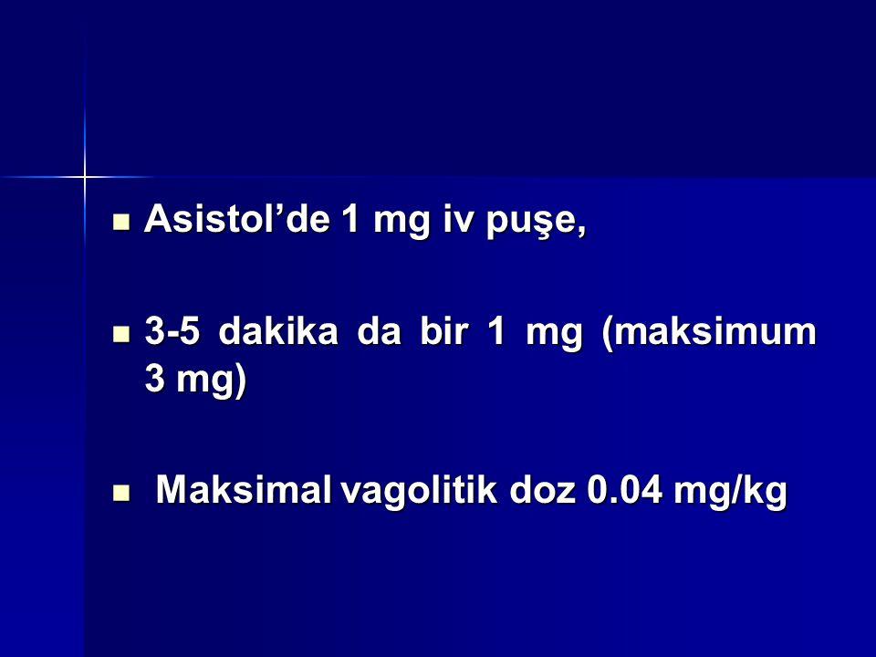 Asistol'de 1 mg iv puşe, 3-5 dakika da bir 1 mg (maksimum 3 mg) Maksimal vagolitik doz 0.04 mg/kg.