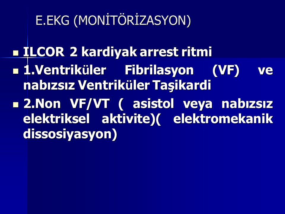 E.EKG (MONİTÖRİZASYON)