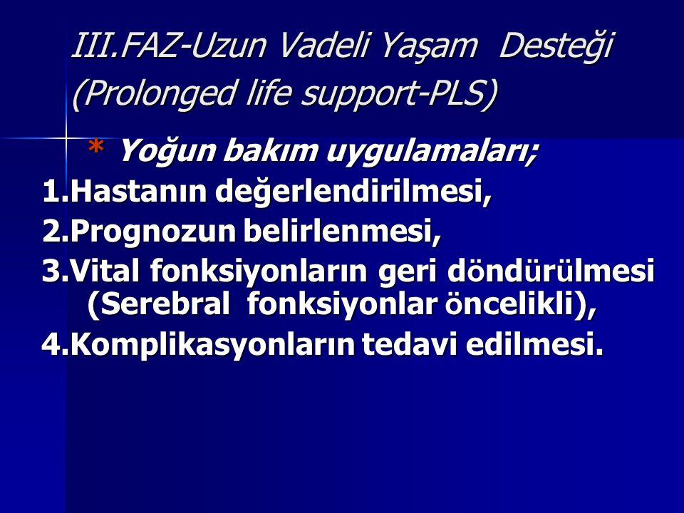 III.FAZ-Uzun Vadeli Yaşam Desteği (Prolonged life support-PLS)