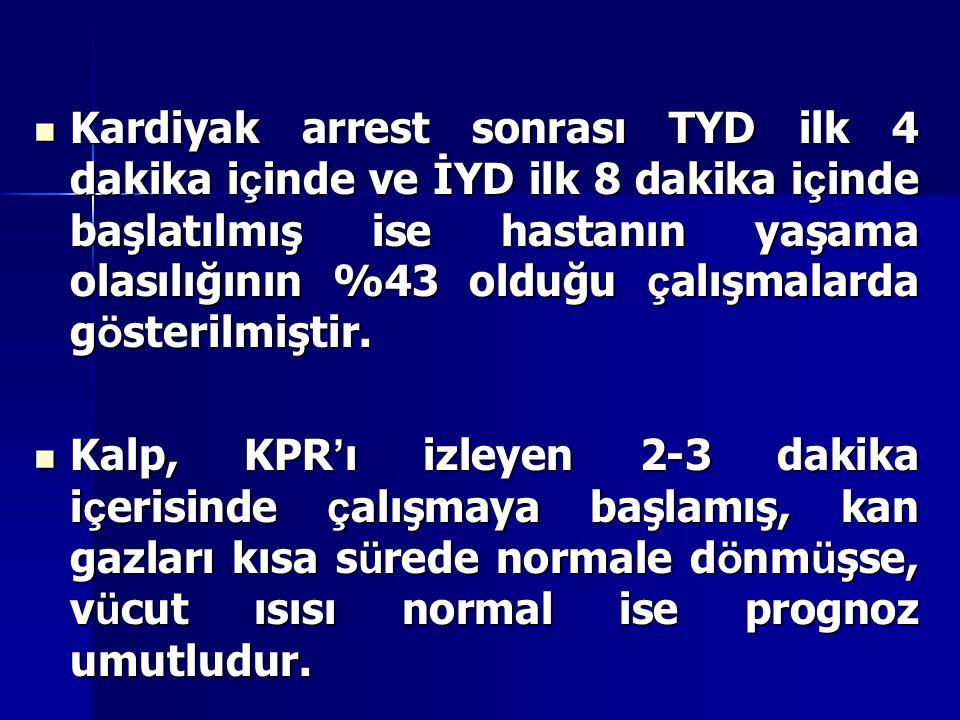 Kardiyak arrest sonrası TYD ilk 4 dakika içinde ve İYD ilk 8 dakika içinde başlatılmış ise hastanın yaşama olasılığının %43 olduğu çalışmalarda gösterilmiştir.