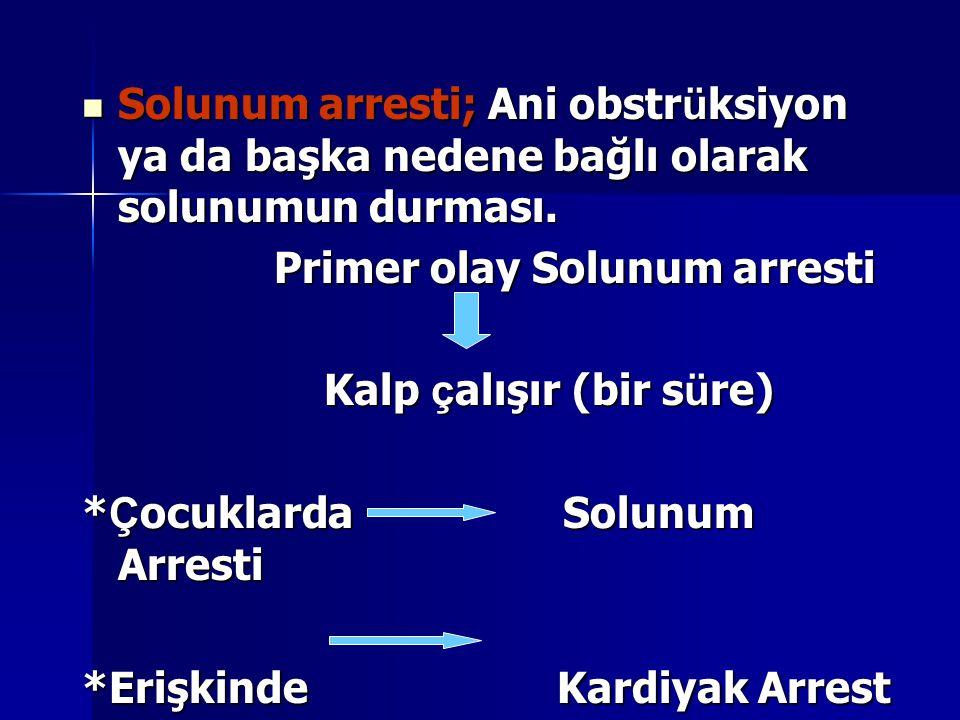 Solunum arresti; Ani obstrüksiyon ya da başka nedene bağlı olarak solunumun durması.