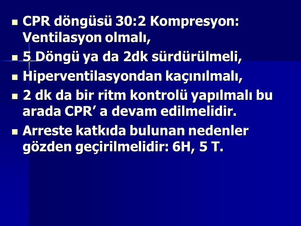 CPR döngüsü 30:2 Kompresyon: Ventilasyon olmalı,