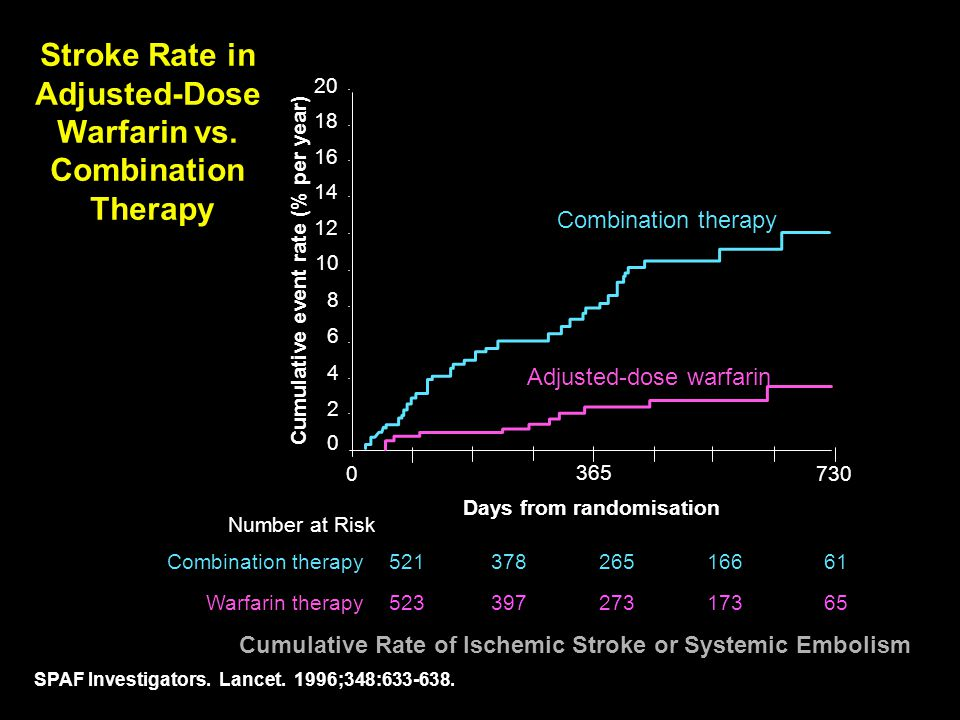 Stroke Rate in Adjusted-Dose Warfarin vs. Combination Therapy