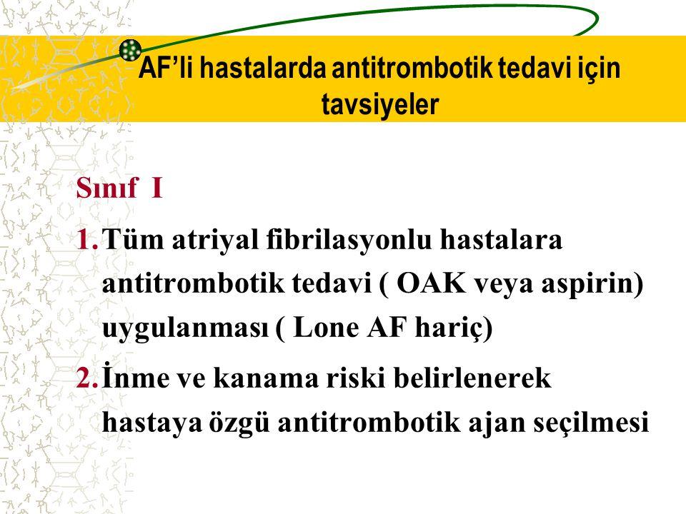 AF'li hastalarda antitrombotik tedavi için tavsiyeler
