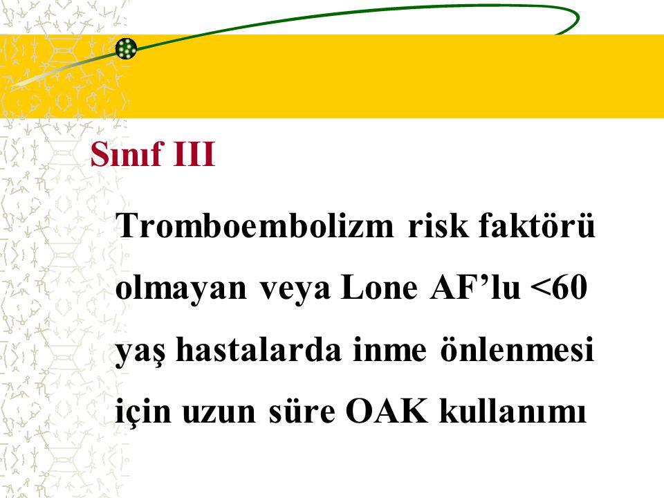 Sınıf III Tromboembolizm risk faktörü olmayan veya Lone AF'lu <60 yaş hastalarda inme önlenmesi için uzun süre OAK kullanımı.