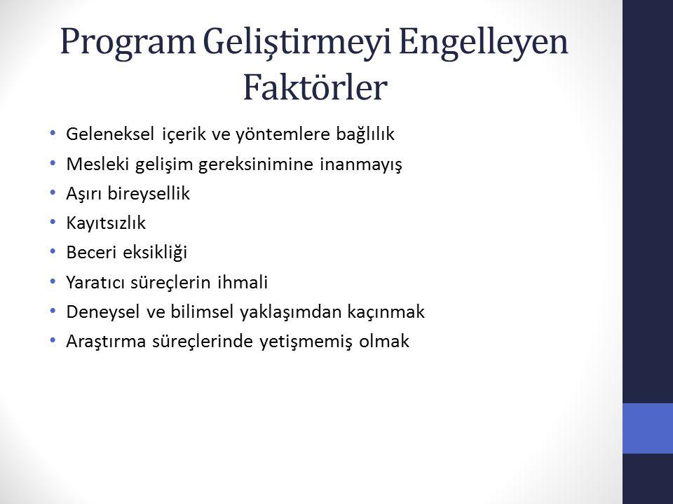 Program Geliştirmeyi Engelleyen Faktörler