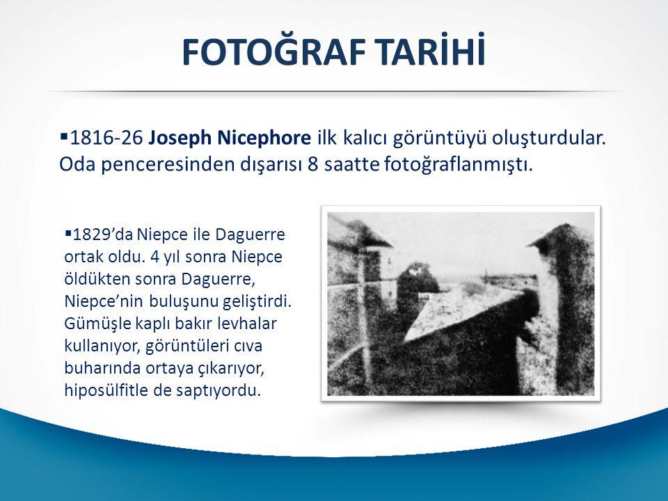 FOTOĞRAF TARİHİ 1816-26 Joseph Nicephore ilk kalıcı görüntüyü oluşturdular. Oda penceresinden dışarısı 8 saatte fotoğraflanmıştı.