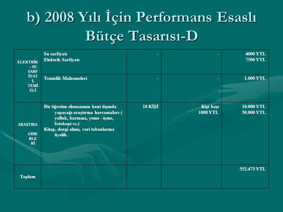 b) 2008 Yılı İçin Performans Esaslı Bütçe Tasarısı-D