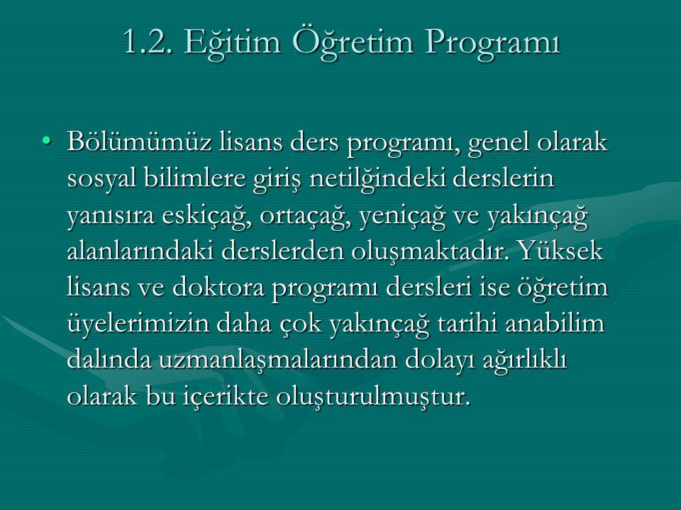 1.2. Eğitim Öğretim Programı