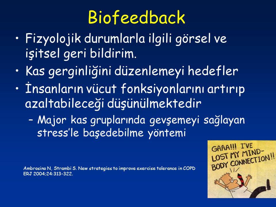 Biofeedback Fizyolojik durumlarla ilgili görsel ve işitsel geri bildirim. Kas gerginliğini düzenlemeyi hedefler.