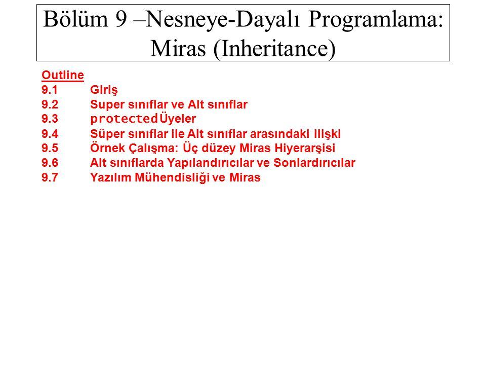 Bölüm 9 –Nesneye-Dayalı Programlama: Miras (Inheritance)