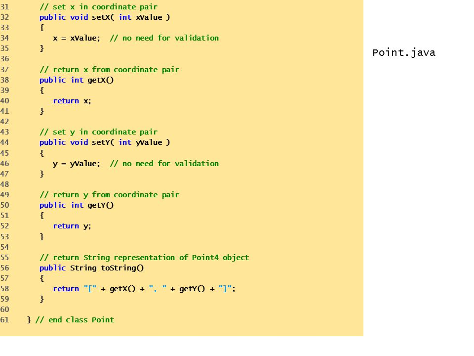 Point.java 31 // set x in coordinate pair