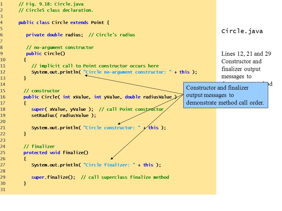 1 // Fig. 9.18: Circle.java 2 // Circle5 class declaration. 3. 4 public class Circle extends Point {