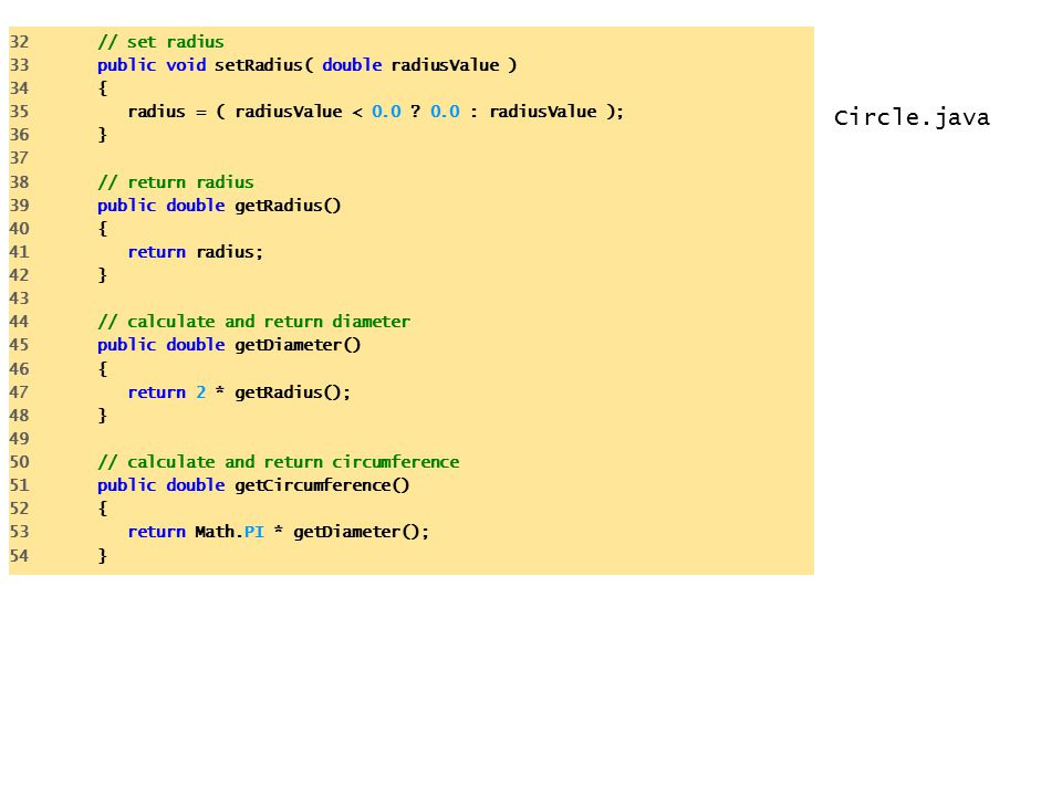 Circle.java 32 // set radius