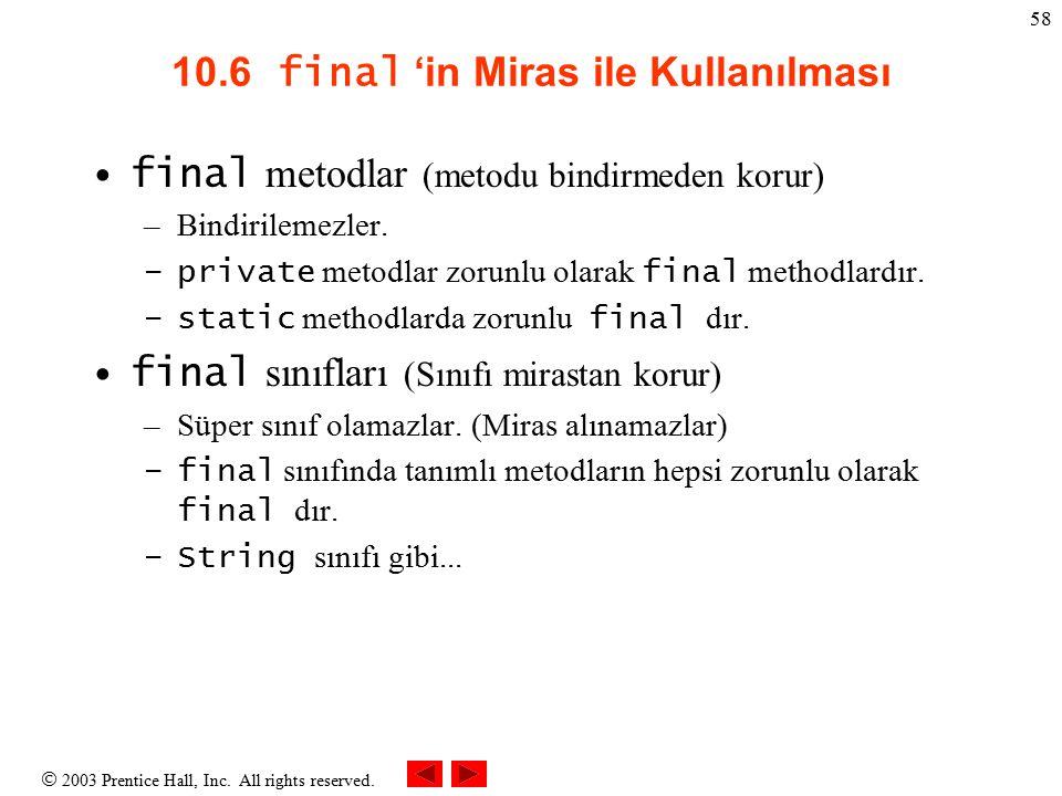 10.6 final 'in Miras ile Kullanılması