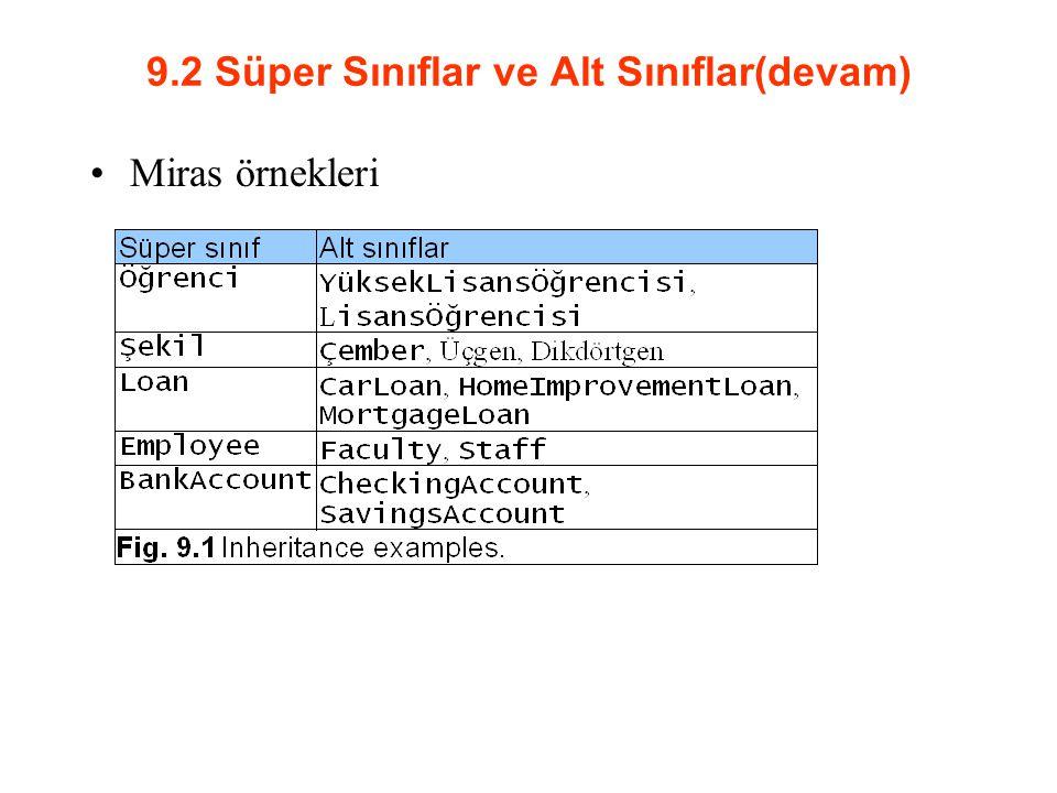 9.2 Süper Sınıflar ve Alt Sınıflar(devam)