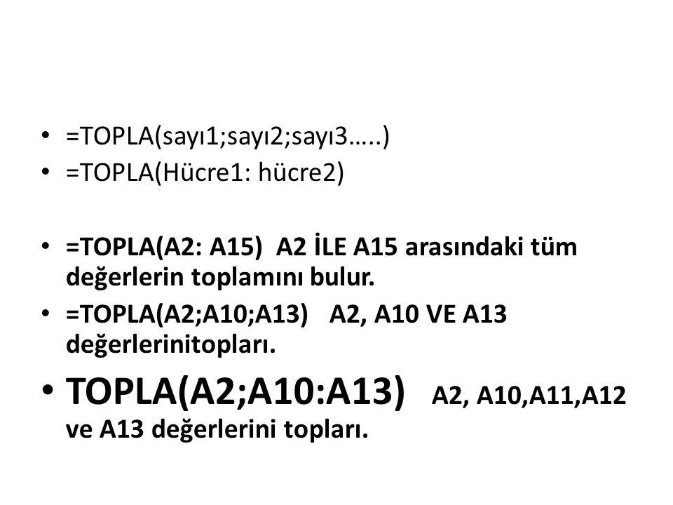 TOPLA(A2;A10:A13) A2, A10,A11,A12 ve A13 değerlerini topları.