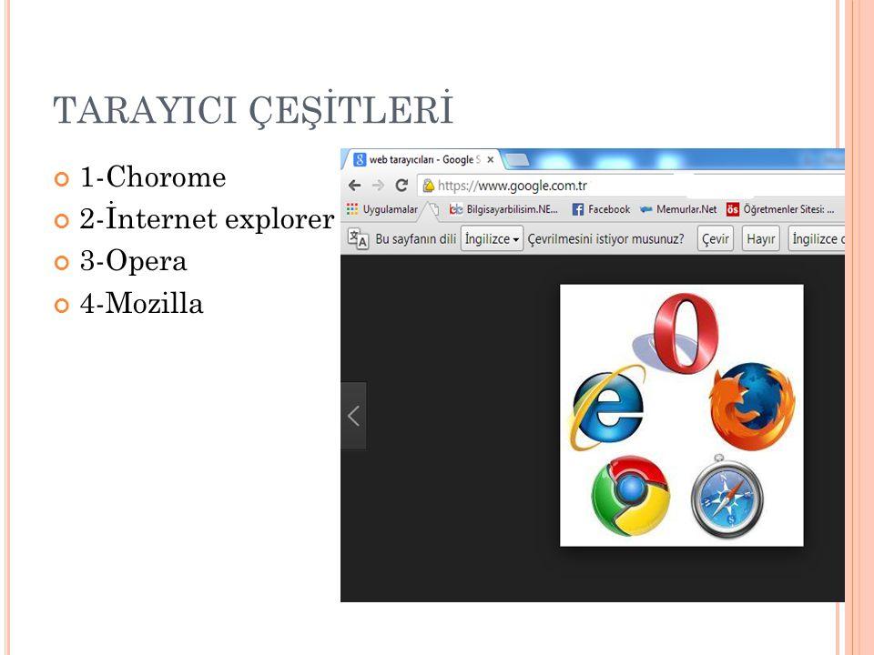 TARAYICI ÇEŞİTLERİ 1-Chorome 2-İnternet explorer 3-Opera 4-Mozilla