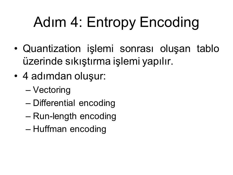 Adım 4: Entropy Encoding